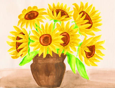 Sunflowers, hand painted picture, gouache. photo