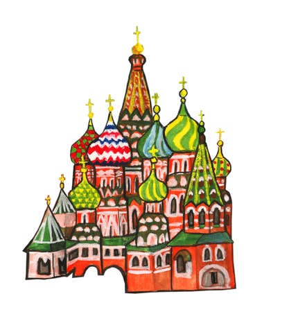 Moscow, hand painted picture, gouache. Kremlin fortress with Kremlin cathedrals and St. Basils Pokrovskiy (Intercession) cathedral. photo