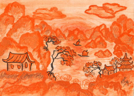 Landscape in traditions of old Chinese art, in orange colours, hand painted picture, watercolours. photo