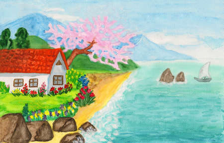 crimea: House in Crimea, hand painted picture, watercolours.