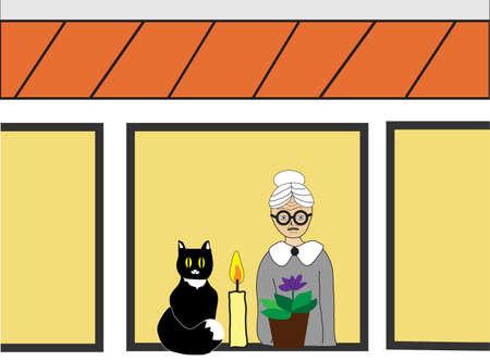 vejez: Anciana con el gato y flor en la ventana de la casa, imagen del concepto describe idea de la soledad de las personas en la tercera edad. Vectores