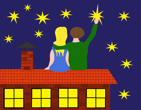 Vector illustration, young man and woman sitting on roof of house, sky with stars, man takes star from sky   Vector