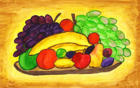 Different fruits on plate, hand painted picture, gouache, watercolours. photo