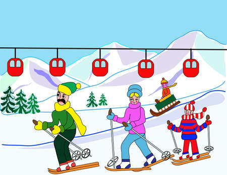Vector illustration - family father, mother and two children skiing in hills in winter  Vector