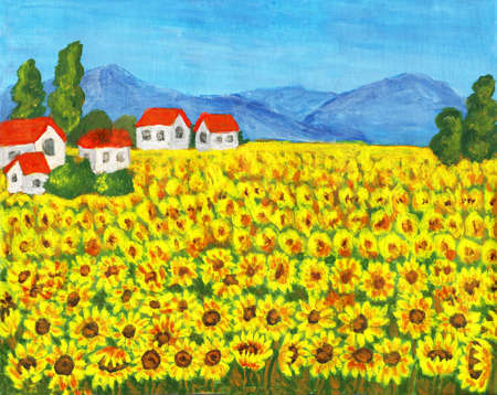 Hand painted picture, acrylic, summer landscape field with sunflowers. photo