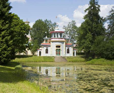 tsarskoye: Tsarskoye selo - July 07, 2012: Chinese palace in residence of kings Tsarskoye selo in town Pushkin in surroundings of St. Petersburg in Russia.