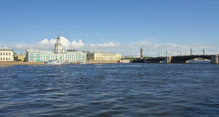 ethnography: St  Petersburg, Russia, University quay of river Neva, building of Academy of science, 1783-1789, and Museum of Anthropology and ethnography  cabinet of curiosities  1718-1734  Editorial