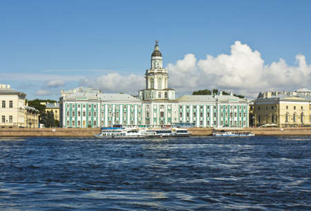 ethnography: St. Petersburg, Russia, University quay of river Neva, building of Academy of science, 1783-1789, and Museum of Anthropology and ethnography (cabinet of curiosities) 1718-1734. Editorial