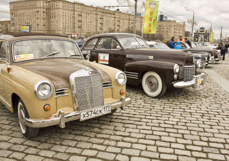 MOSCOW - APRIL 21: rally of classical cars on Poklonnaya hill,  April 21, 2013, in town Moscow, Russia.