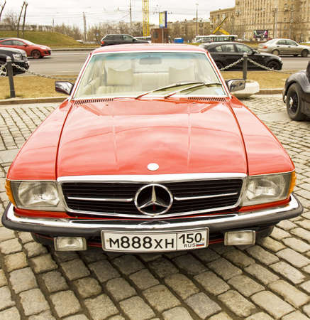 MOSCOW - APRIL 21: rally of classical cars on Poklonnaya hill,  April 21, 2013, in town Moscow, Russia, mercedes benz.