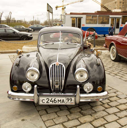 made russia: MOSCOW – APRIL 21: rally of classical cars on Poklonnaya hill,  April 21, 2013, in town Moscow, Russia, Jaguar, made in England.