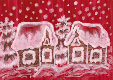 raspberry pink: Hand painted picture to Christmas and New year holidays, gouache, watercolurs, houses and spruce  fir  trees on crimson  raspberry pink  background  Stock Photo