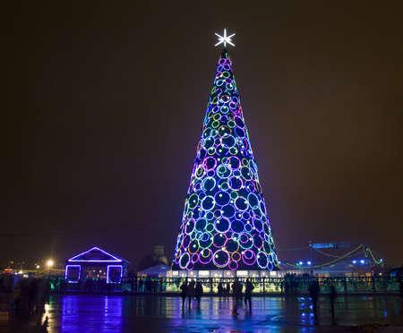 Moscow, Russia - January 01, 2013: Christmas - New year tree on Poklonnaya hill.