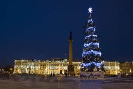art museum: ST. PETERSBURG - 23 dicembre: Natale - Albero di nuovo anno e Palazzo d'Inverno (museo d'arte Hermitage), 23 Dicembre 2012, nella citt� di San Pietroburgo, Russia.