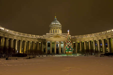 kazanskiy: ST. PETERSBURG - DECEMBER 25: Christmas - New Year tree near Kazanskiy cathedral (cathedral of Kazanskaya icon of St. Mary), December 25, 2012, in town St. Petersburg, Russia.