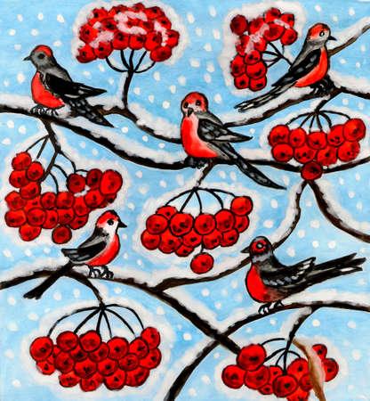 ash tree: Uccelli ciuffolotto sul frassino (sorbo degli uccellatori) in inverno - immagine, acquerelli e gouache dipinte a mano. Archivio Fotografico