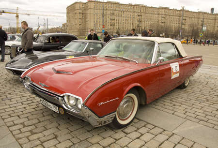 thunderbird: MOSCOW � APRIL 21  retro car ford thunderbird on rally of classical cars on Poklonnaya hill,  April 21, 2013, in town Moscow, Russia  Editorial