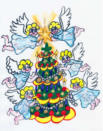 Angels decorating Christmas tree, hand painted picture, watercolours. photo