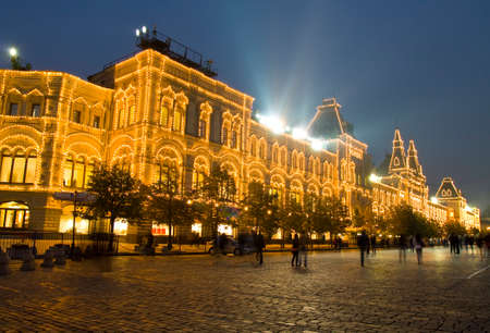Building of Gum (State Universal Shop), landmark of architecture of modern style, built in 1893 on Red square, in the evening in Moscow, Russia.