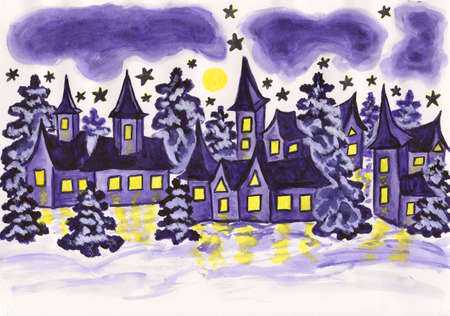 Hand painted picture, watercolours - winter landscape with houses and spruces in violet colour, holiday postcard to Christmas and New Year holidays. photo