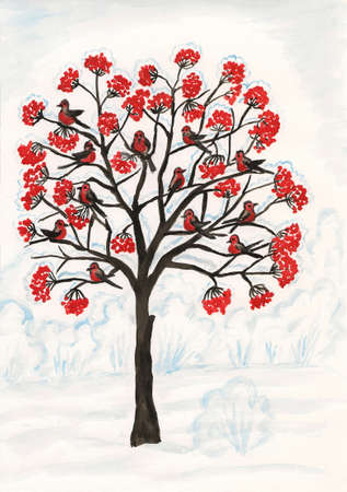 Bullfinches on ash-tree, hand painted picture, gouache.