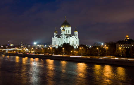 Cathedral of Jesus Christ Saviour on bank of Moscow-river at night in Moscow.