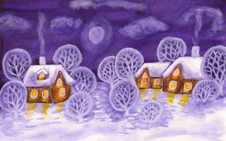 Hand painted picture, winter landscape with houses and trees, can be used as Christmas - New Year holiday postcard, watercolours. photo