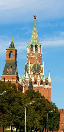 spasskaya: Moscow, Spasskaya and Nabatnaya (Alarm) towers of Kremlin fortress.