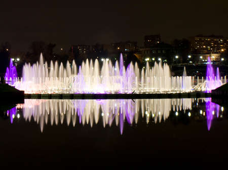 tsaritsino: Moscow, illuminated fountain on lake in park Tsaritsino on festival Circle of light.