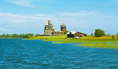 onega: Old wooden churchs on island Kizhi on Onega  Onezhskoye  lake in region Karelia on North of Russia