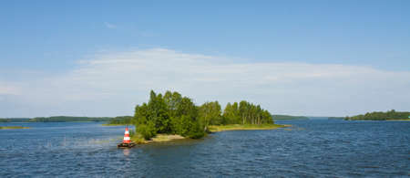 onega: Landscape with many little islands on lake, recorded in place Kizhi in region Karelia on Onega  Onezhskoye  lake on North of Russia