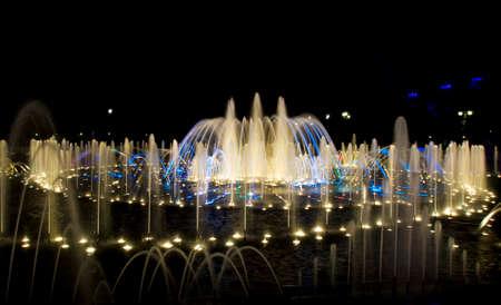 tsaritsino: Moscow, illuminated fountain in park Tsaritsino at night
