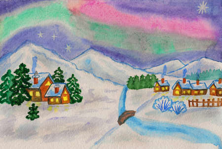 Hand painted picture, watercolours - winter landscape with northern lights, hills and houses. photo
