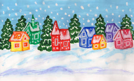 Hand painted picture to Christmas and New Year holidays, watercolours and gouache, winter landscape with fir trees and houses of different colours. photo