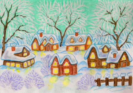 Hand painted Christmas - New Year postcard, watercolours and acrylic: winter landscape with village houses and trees on green sky. photo