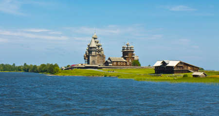 onega: Old wooden churches on island Kizhi on Onega (Onezhskoye) lake in region Karelia on North of Russia Stock Photo