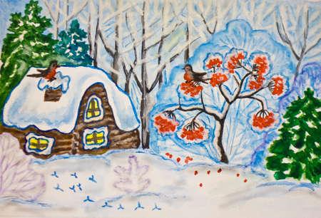ash tree: Dipinta a mano di Natale - Capodanno immagine, gouache e acquerello, paesaggio invernale con la casa e la cenere albero nella foresta. Archivio Fotografico