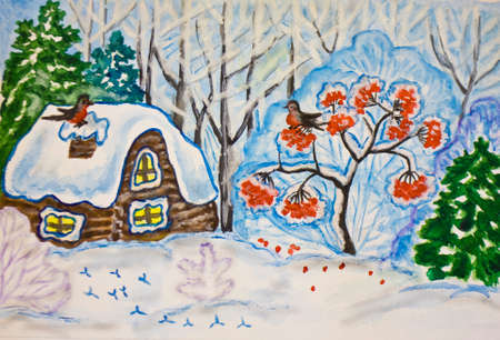 ash tree: Hand painted Christmas - New Year picture, gouache and watercolours, winter landscape with house and ash tree in forest.
