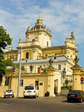 LVOV, UKRAINE - MAY 15  cathedral of Saint Yura of Ukrainian Greek-catholic church on May 15, 2013 in Lvov, Ukraine, has been built in 1762  Historical centre of Lvov is UNESCO World Heritage Site