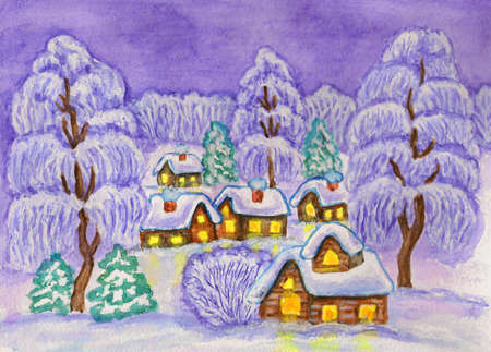 Hand painted illustration, watercolours and white acrylic - winter landscape in purple colours, can be used as Christmas and New Year holiday picture. illustration