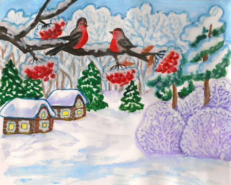 ash tree: Hand painted illustration, winter landscape with two birds on branch, gouache, can be used as Christmas - New Year holiday picture.