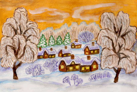 Hand painted illustration, watercolours and white acrylic and gouache, winter landscape on yellow sky, can be used as Christmas and New Year holiday picture.
