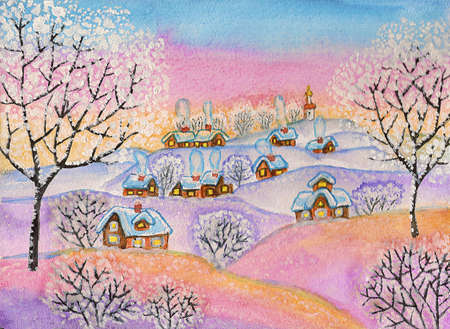 Hand painted illustration, winter landscape, watercolours and white acrylic, can be used as picture for Christmas and New Year holidays.