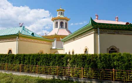 tsarskoye: Tsarskoye selo, Russia - July 07, 2012: Chinese palace in residence of kings in Tsarskoye selo in town Pushkin in surroundings of St. Petersburg in Russia. Editorial