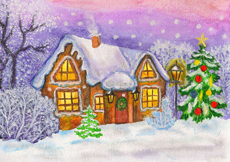 Hand painted Christmas - New Year illustration, watercolours, house in winter landscape and New Year tree. illustration
