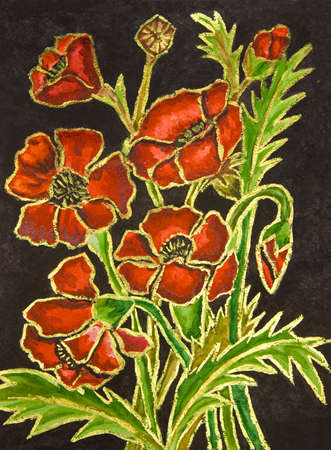 Poppies on black background, hand painted illustration, watercolours and gouache. illustration