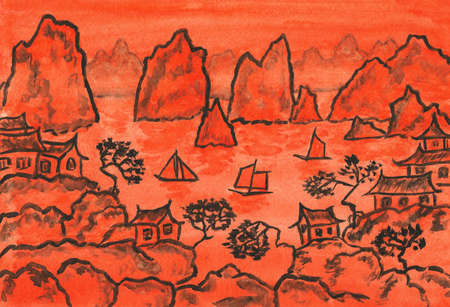 continuation: Hand painted picture, gouache, continuation of traditions of ancient Chinese painting, China landscape with hills in orange colour.