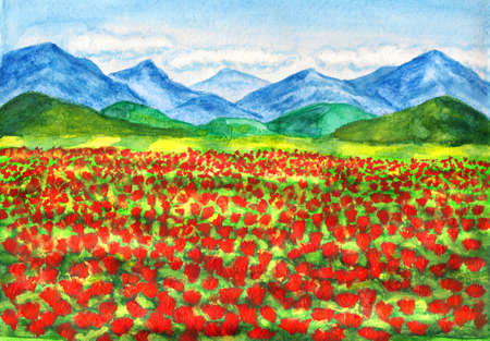 fine art painting: Hand painted picture, landscape with meadow of red poppies and hills, landscape - watercolours, flowers - acrylic.