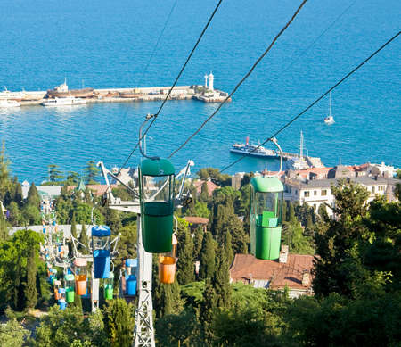 Cabel-way in town Yalta, famous resort in region Crimea on Black sea  photo