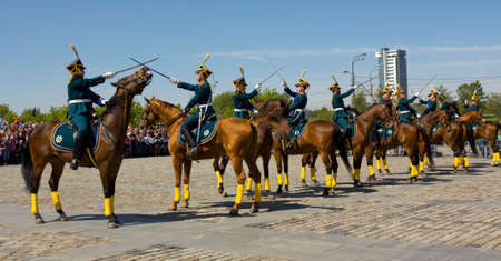 cavalry: MOSCOW - MAY 9, 2014  cavalry show in historical memorial  Poklonnaya hill devoted to holiday Victory day of victory in Second World War, with participation of President cavalry regiment and Kremlin cavalry school  Editorial